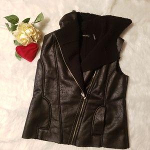 Dolce Cabo Faux Leather & Faux Fur Lined Vest-L